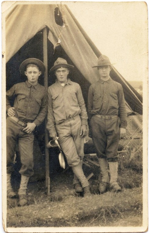 Prvates Harvey Hagan, Nicholas Meyer and Edward Duda at Base Camp #1, St. Nazaire, in early July 1917.