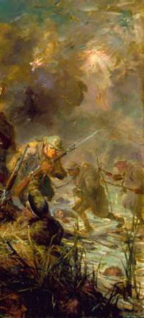 "Detail from F.C. Yohn's painting, ""Last Night of the War"", depicting the 5th Marines crossing the Meuse on the night of November 10-11, 1918."
