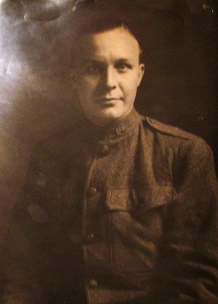 "George P. Dickson, unit & rank unknown.  He writes on back of photo: ""To Miss Edith E. MacDonald, from an Appreciative Doughboy"""